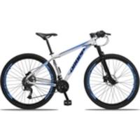 Bicicleta Aro 29 Quadro 17 Alumínio 27v Câmbio Shimano Altus Freio Hidráulico Branco/Azul - Dropp