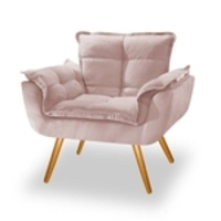 Poltrona Decorativa Opala Suede Rose - Bc Decor