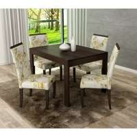 Conjunto De Mesa Liptus Thaisa Fixa Com 4 Cadeiras Paula Grace Wengue