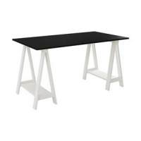 Mesa Escrivaninha Cavalete Tampo Branco e Preto