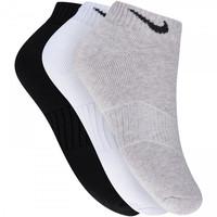 Meia Nike Swoosh Cano Baixo Kit com 3 Pares Adulto Branco e Preto