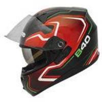 Capacete Moto Bieffe B-40 Tron Preto Vermelho Com Óculos Solar