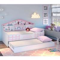 Cama Infantil Casa De Boneca Diversão Com Cama Auxiliar Rosa branco Pura Magia