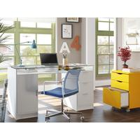 Escrivaninha Madesa Home Office Chicago 1 Porta 3 Gavetas Tampo de Vidro Branco