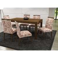 Conjunto De Mesa Liptus Thaisa Fixa Com 6 Cadeiras Estofadas Iracema Imbuia Tingido