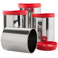 Conjunto de Potes para Mantimentos Brinox Suprema Vermelho 4 Peças