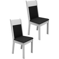 Kit de Cadeiras de Jantar Madesa Veneza Preto e Branco 2 Peças