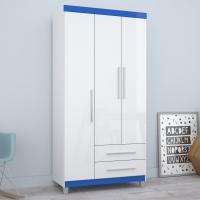 Roupeiro Solteiro Mirarack Flex Color Panamá 03 Portas E 02 Gavetas Branco e Azul