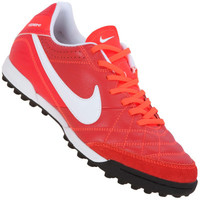 Chuteira Society Nike Tiempo Natural IV LTR TF Masculina Vermelha Laranja e  Branco 205374fbf9d99