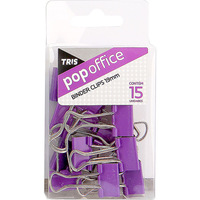 Binder Clips Tris Pop Office Pequeno Metal Roxo 15 Unidades