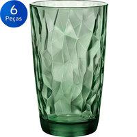 Jogo de Copos Bormioli Rocco Long Drink Diamond 470ml 6 Peças Verde