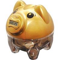 Cofre Contador de Moedas In Brasil Pig Bank Dourado