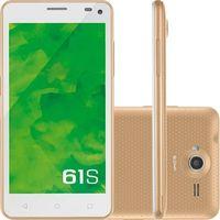 Smartphone Mirage 61S Desbloqueado GSM Dual Chip Android 5.0 Branco e Dourado