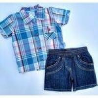 Conjunto Social Bebe Paraíso Bermuda Jeans E Camisa Xadrez