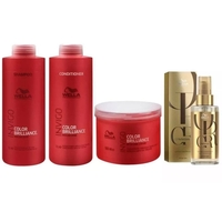 Kit Shampoo 1L Condicicionador 1L + Máscara 500g + Oil Reflections 100ml Wella Brilliance