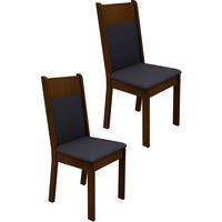 Kit de Cadeiras de Jantar Madesa Veneza Preto e Imbuia 2 Peças