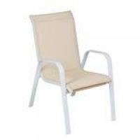 Cadeira Empilhável Summer Mestra Móveis Bege/Branco
