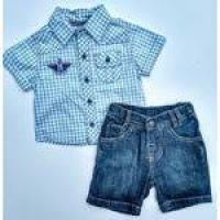 Conjunto Social Bebe Menino Pequena M Bermuda Jeans E Camisa
