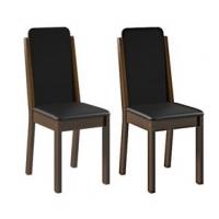 Conjunto 2 Cadeiras Dakota Madesa Imbuia Preto