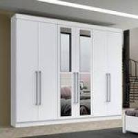 Guarda Roupa Casal Com Espelho 6 Portas 4 Gavetas Toronto Branco - 11734.1.1 Leifer Móveis