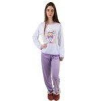 Pijama Feminino Longo Lilás Coruja