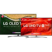 Smart TV OLED 65 4K LG OLED65B9PSB + Smart TV LED LG 55'' 55UM7650 Conversor Digital