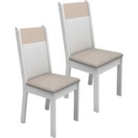 Kit de Cadeiras de Jantar Madesa Elegance Pérola e Branco Vanilla 2 Peças