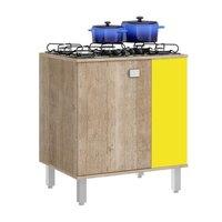Balcão para Cooktop Jaeli 120 Reversível Roble Amarelo/Bege