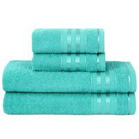 Jogo de Banho Atlântica Delicata Lisa 360 g/m² Azul Tiffany 4 Peças