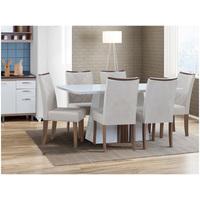 Mesa Itália Tampo Chanfrado 6 Cadeiras Golden Dj Móveis Branco Laca Demolicao Com Suede Pena Beg