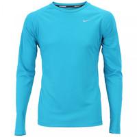 Camiseta Manga Longa Nike Miler Ls Uv Masculina Azul e Prata  2a94baf195bd8