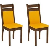 Kit 2 Cadeiras Madesa Leila Rustic Mostarda