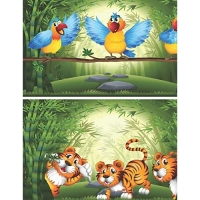 Cute Wild Animals in Bamboo Jungle - Blank Lined Notebook