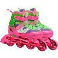 Patins Infantil CKS Spin Roller Start New 04 Rodas - Ajustável Tam. 33 a 36 - Rosa/Verde