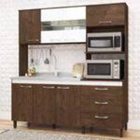Cozinha Compacta 7 Portas 3 Gavetas Luiza Visão Móveis Dakar/Branco
