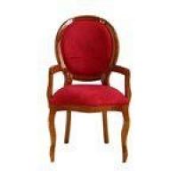 Cadeira De Jantar Medalhão Liso Com Braço Mel Brilho Com Veludo Vermelho