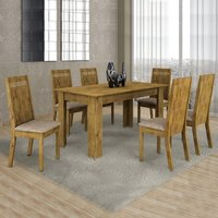 Conjunto Sala de Jantar Mesa 6 Cadeiras Ouro Preto Cel Móveis Ypê/ Suede Pena 84