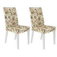 Conjunto com 2 Cadeiras 4129 Branco Lirio Bege Madesa Marrom
