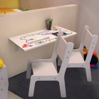 Mesa Infantil Dobrável Suspensa Ides MDF 15Mm E Bordas Arredondadas + 02 Cadeiras Kids Branca Estampada