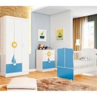 Quarto Infantil Qmovi Sonho Encantado Barco Branco e Azul