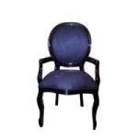 Cadeira De Jantar Medalhão Liso Com Braço Preto Brilho E Veludo Azul