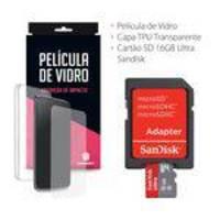 Capa Transparente + Película De Vidro + Cartão De Memória 16gb Ultra Sandisk Para Lg X Skin