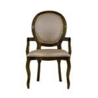 Cadeira De Jantar Medalhão Liso Com Braço Capuccino Brilho E Korino Dourado