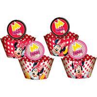 Cupcake Wrapper Regina Festas Enfeite Red Minnie 12 unidades