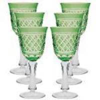 Conjunto De Tacas De Cristal Lapidado - 6 Pcs - Verde - 260 Ml - Mem