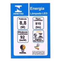 Lâmpada LED Taschibra Luz Quente 8.8W 3000K TKL60 Bivolt