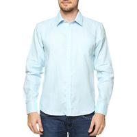 Camisa Short Co Linho Masculina Azul