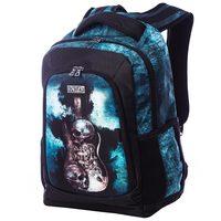 Mochila MCD Back To School Guitar Steampunk em Poliéster Azul e Preta 5d99287b6e4