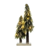 Mini Arvore Natal Pinheiros Nevados Com Led 50cm Base Juta