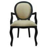 Cadeira De Jantar Medalhão Liso Com Braço Preto Fosco Com Suedine Pérola